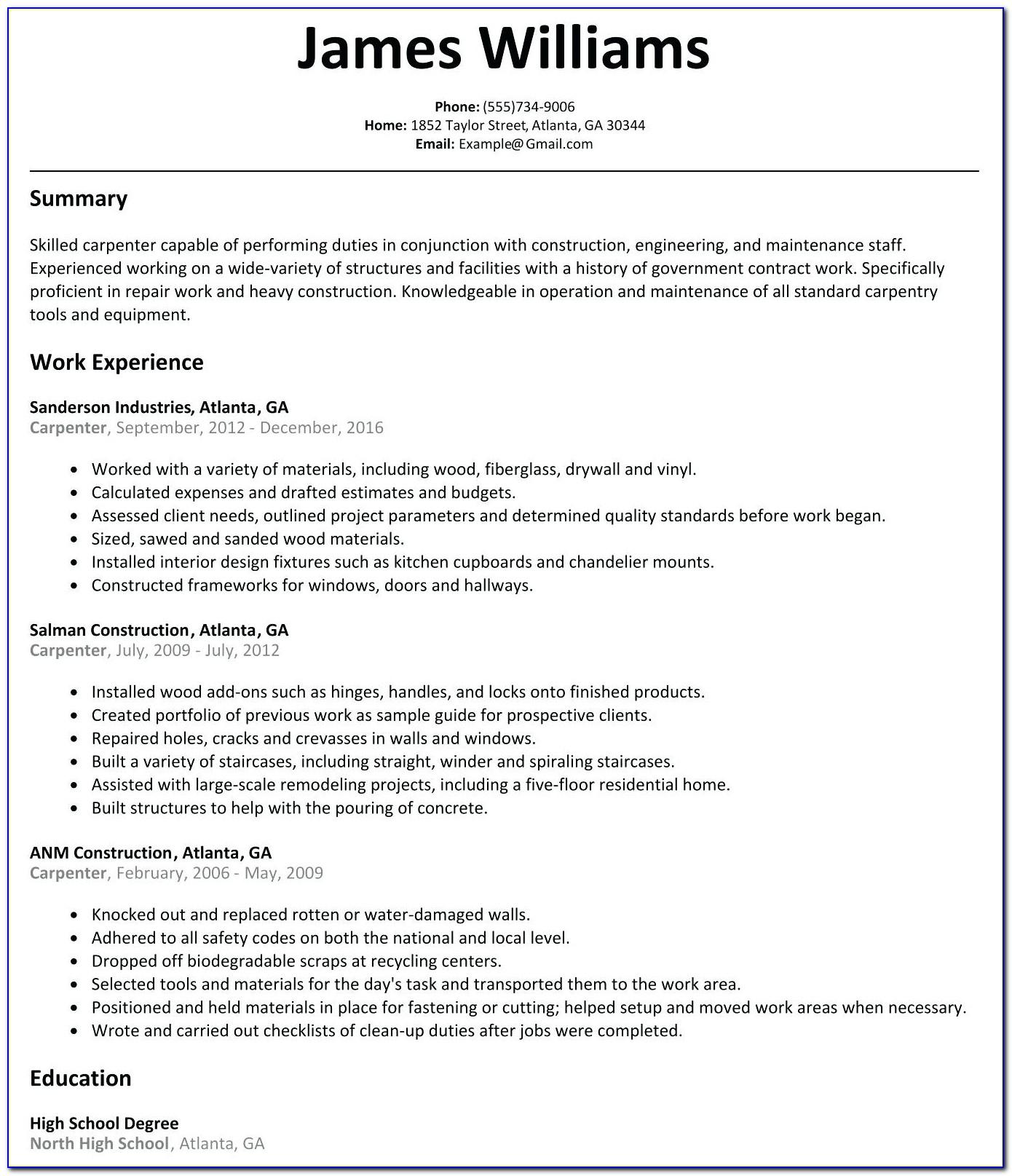 Formwork Carpenter Resume Template