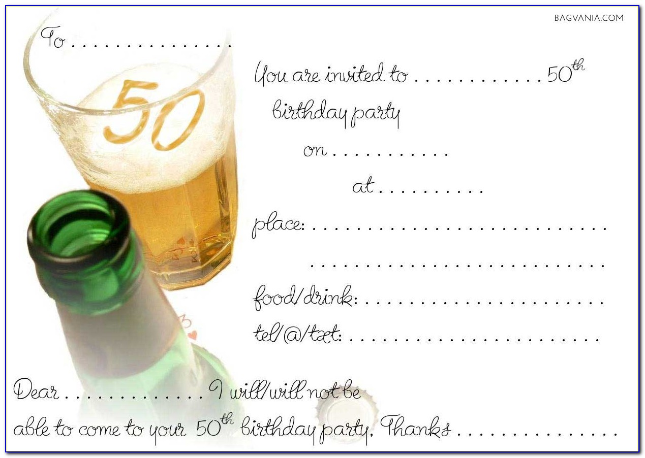Free 50th Birthday Invitation Templates For Adults