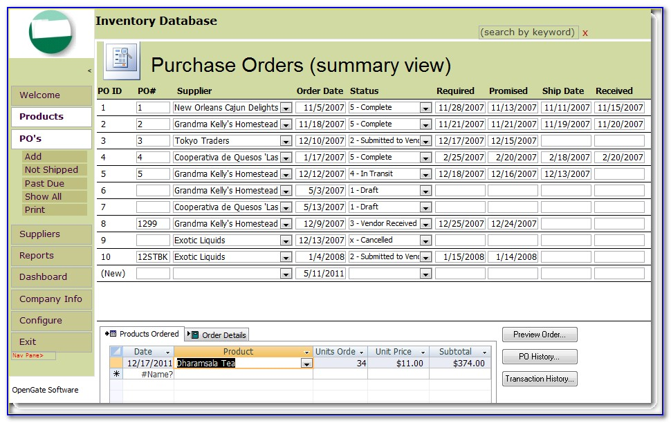 Free Access Inventory Database Template