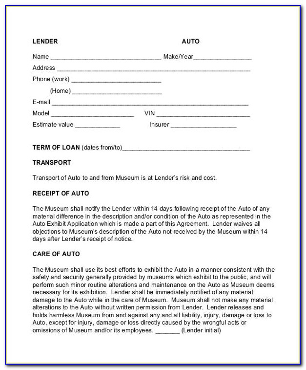 Free Auto Owner Finance Contract Template