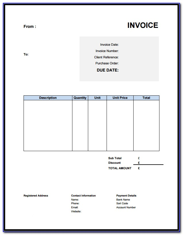 Free Basic Invoice Template Excel