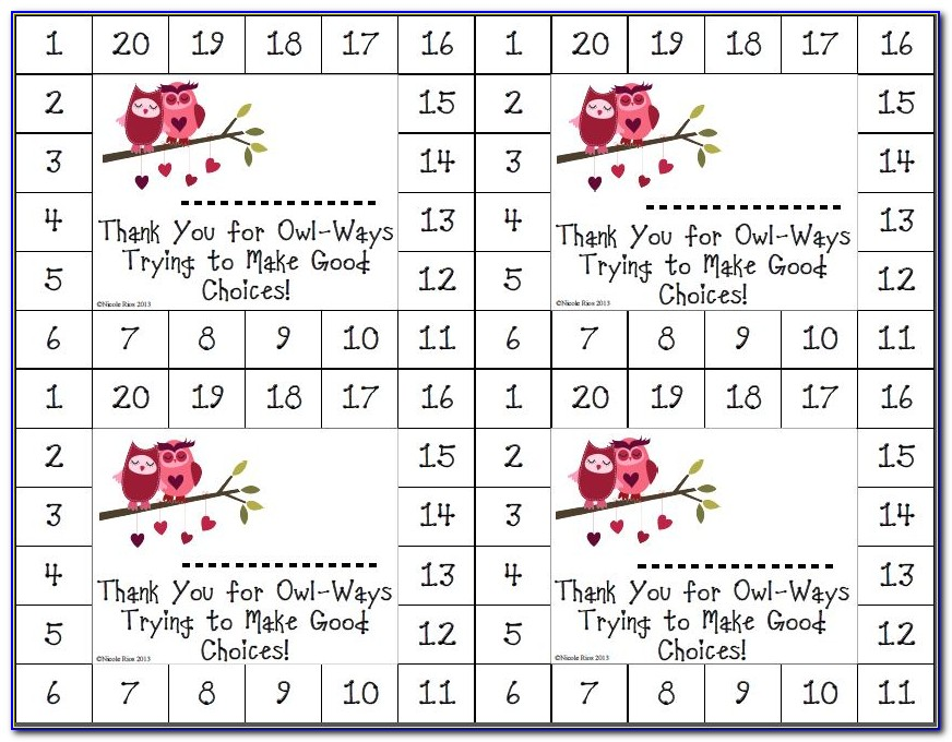 Free Behavior Punch Card Template