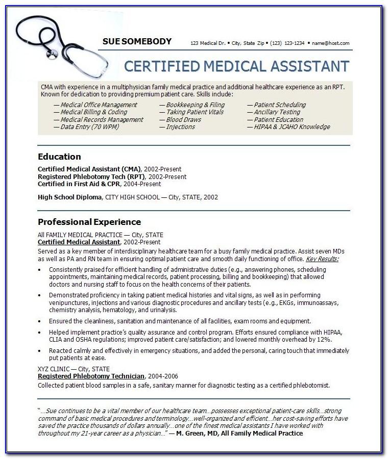Free Certified Medical Assistant Resume Samples