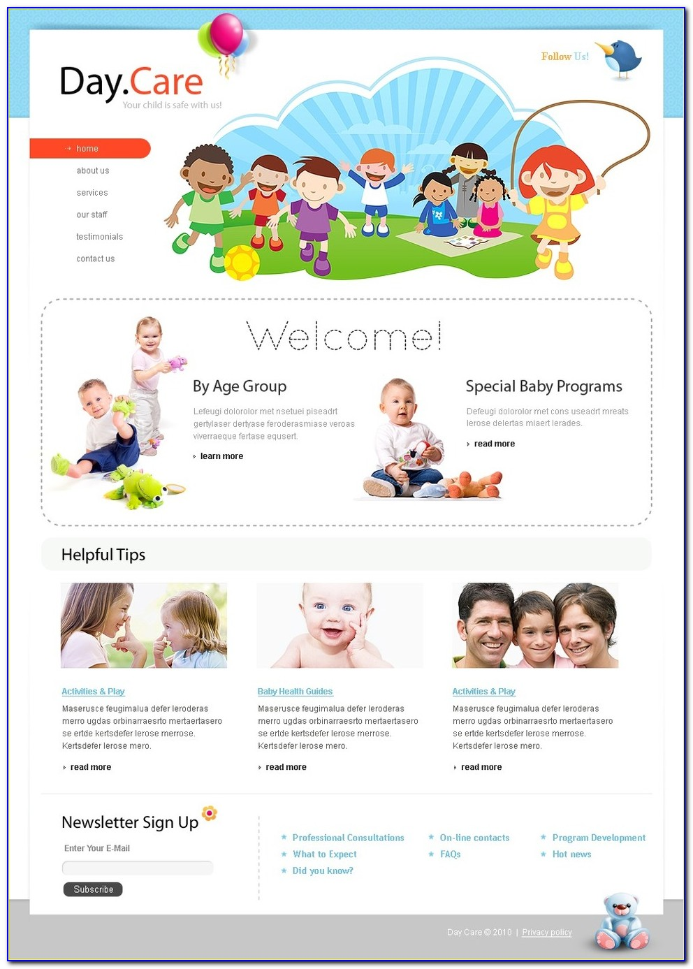 Free Child Care Website Templates