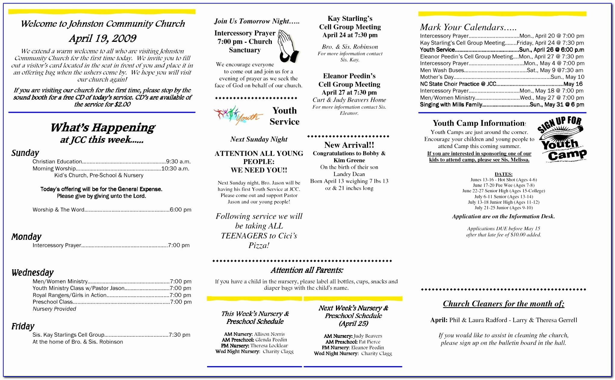 Best S Of Free Printable Church Bulletins Free Free Church Bulletin Template Microsoft Word Fresh Pdf Word Excel Templates Eepyr