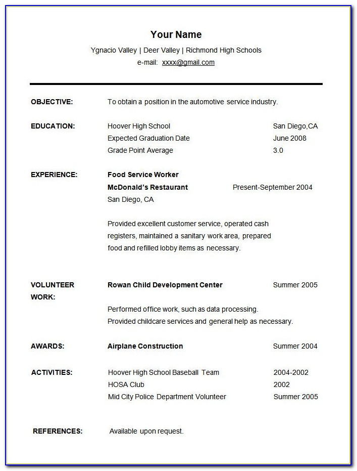 Free College Student Resume Template