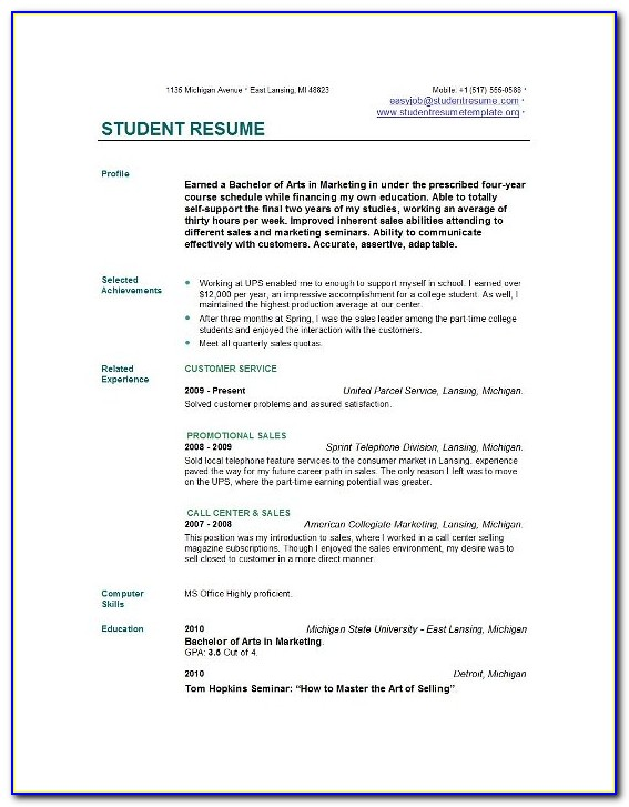 Free College Student Resume Templates