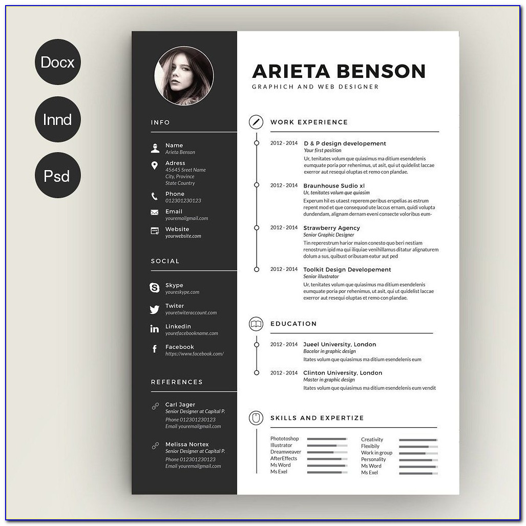 Free Creative Resume Templates Download Template Word Doc Ms Cv Docx In Resume Template Word Docx