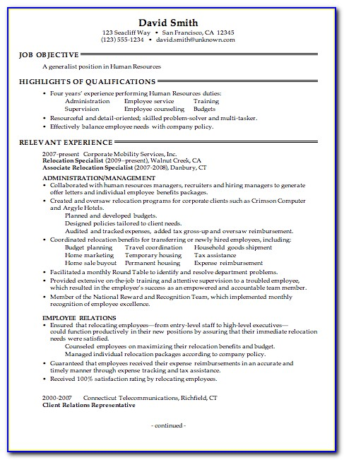 Free Creative Hr Resume Templates