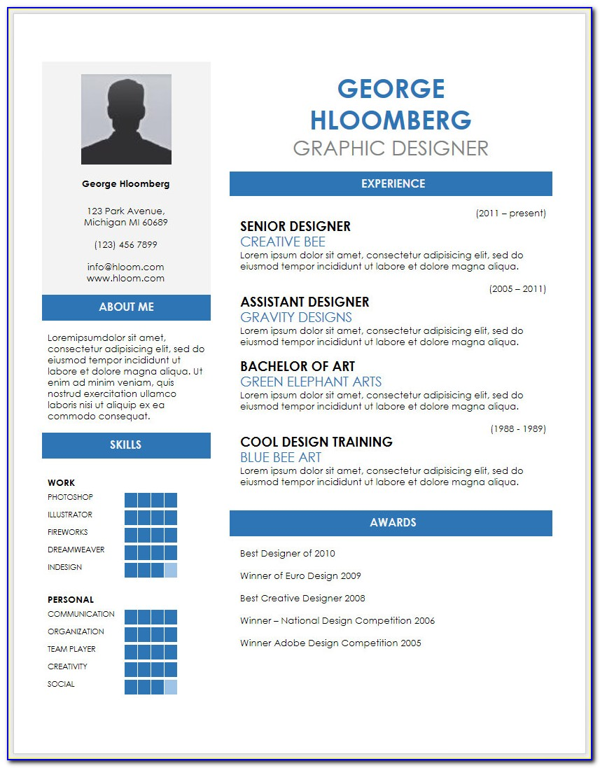 Free Creative Resume Template Microsoft Word