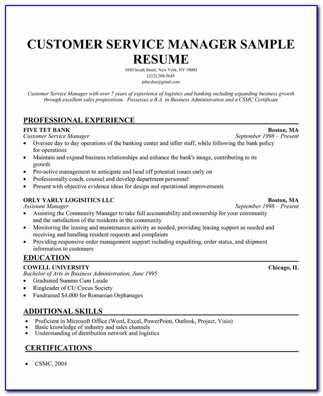 Then Free Customer Service Resume Template