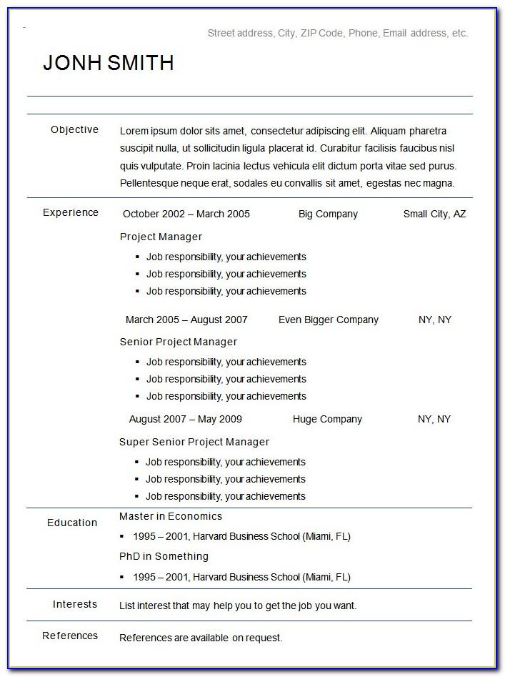 Free Download Resume Templates Microsoft Word 2010