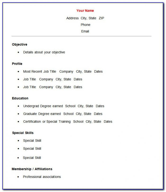 Free Download Simple Resume Format For Freshers