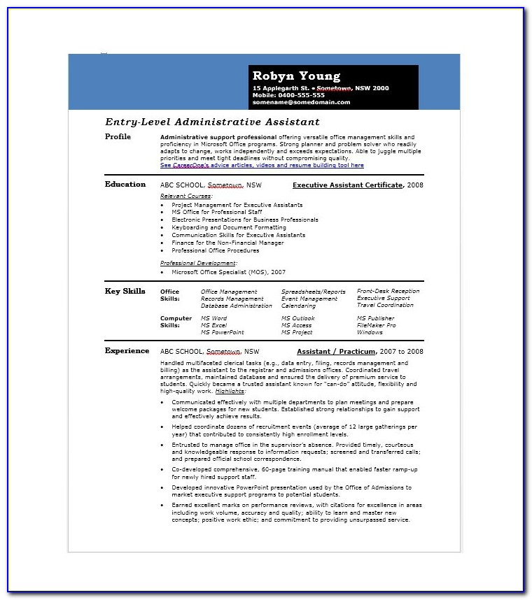 Free Downloadable Administrative Assistant Resume