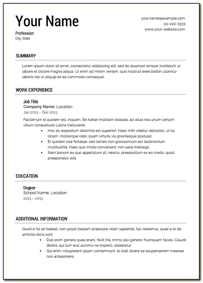 Free Downloadable Resume Formats