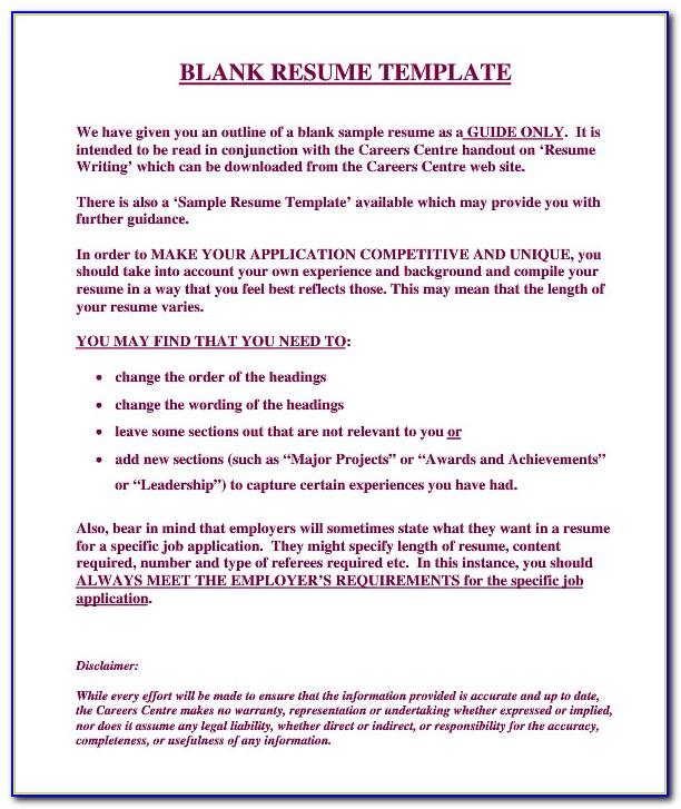 Free Editable Resume Template Word