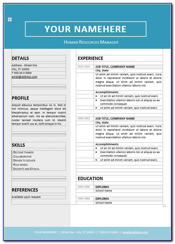 Free Editable Resume Templates Word