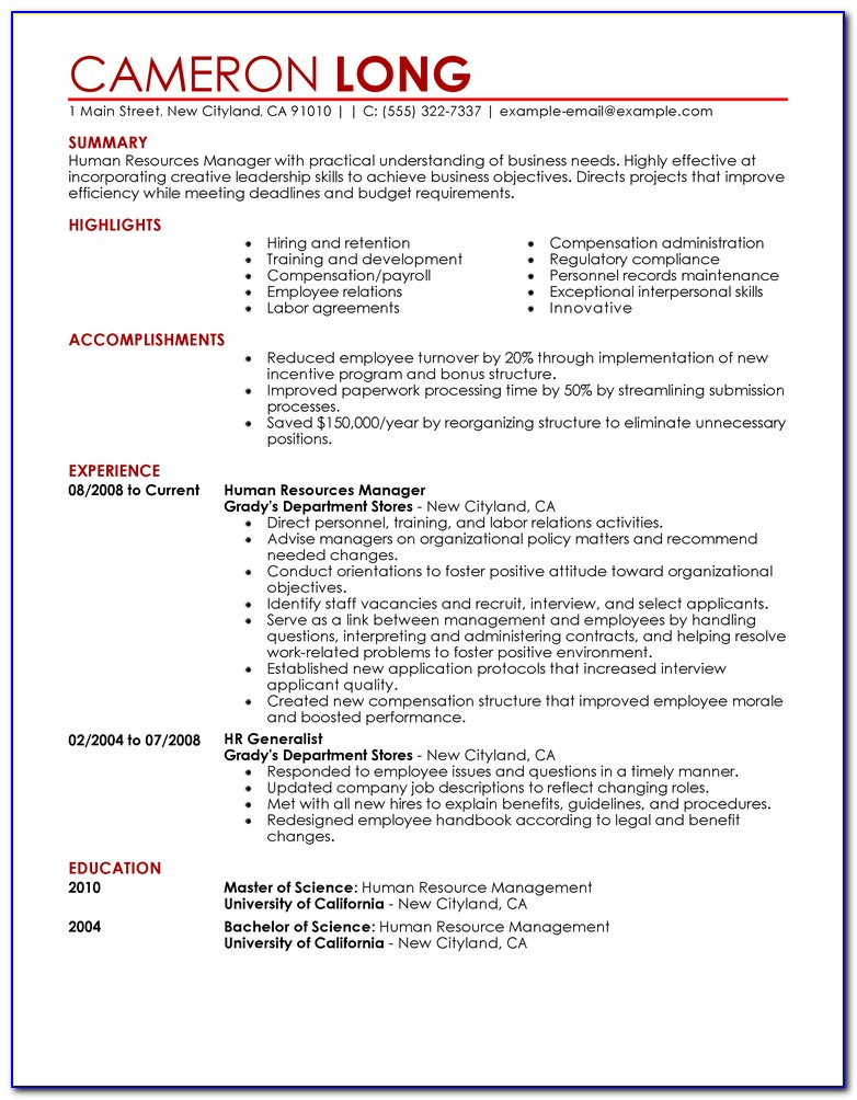 Free Examples Of Resumes And Cover Letters