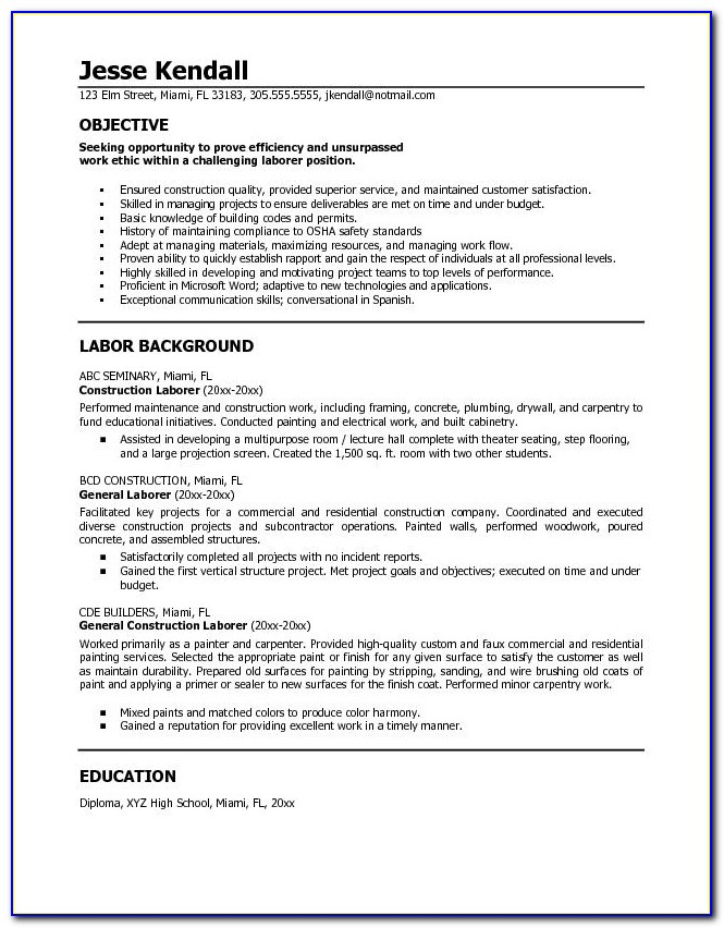 General Resume Examples | General Labor Resume:examples,samples Inside General Labor Resume Sample