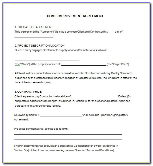 Free Home Improvement Contract Forms