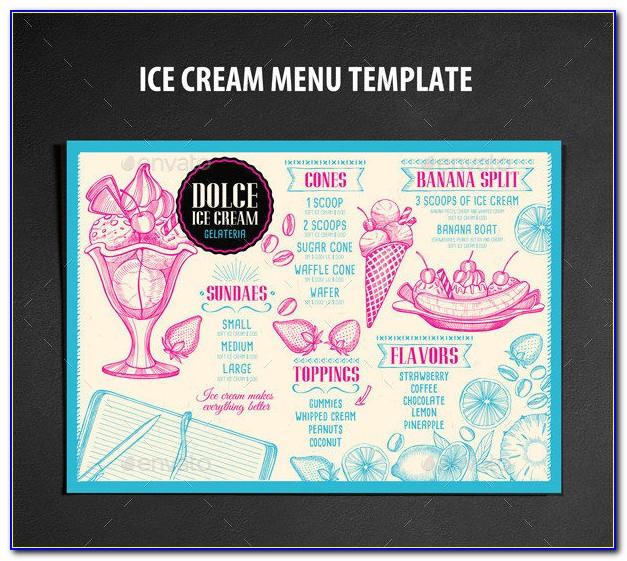 Free Ice Cream Menu Design Template