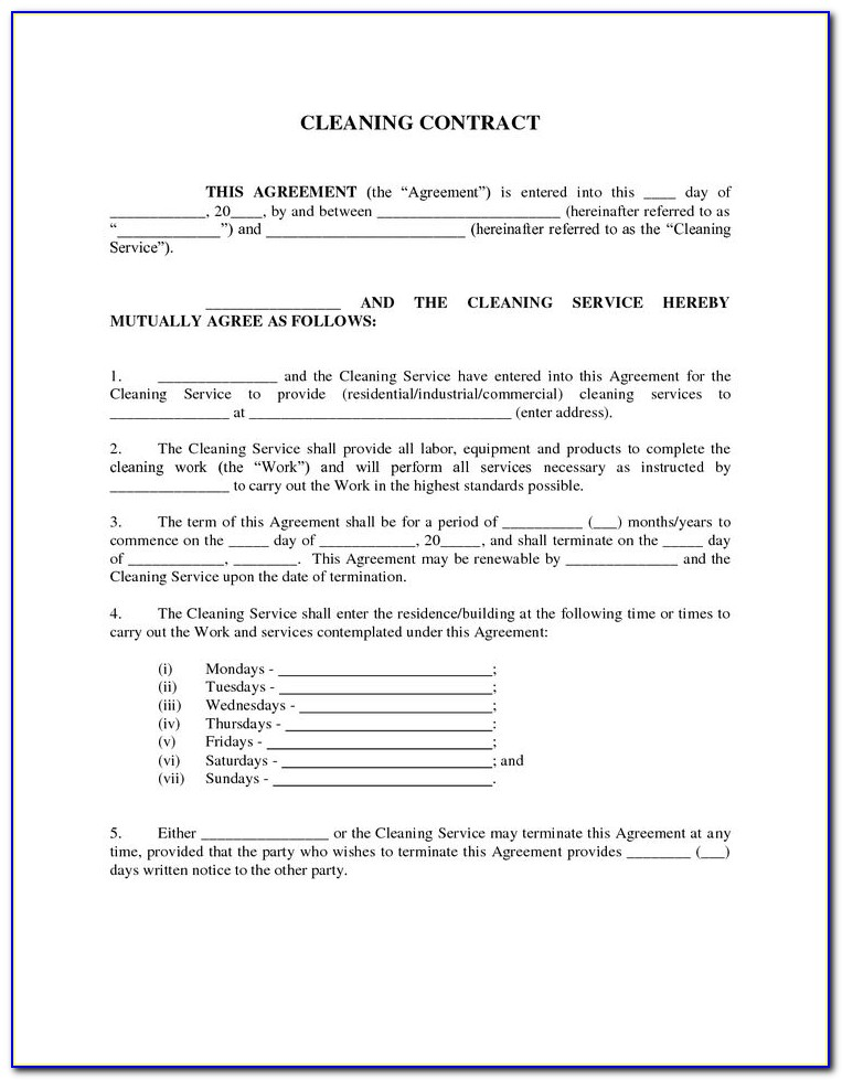 Free Janitorial Service Contract Template