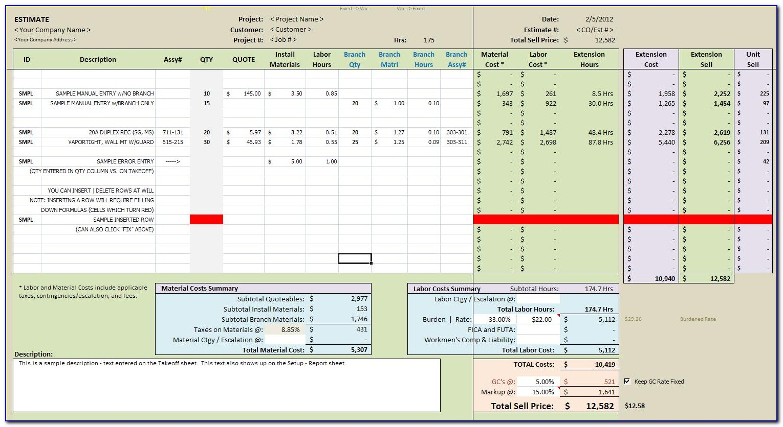 Free Material Takeoff Template Excel