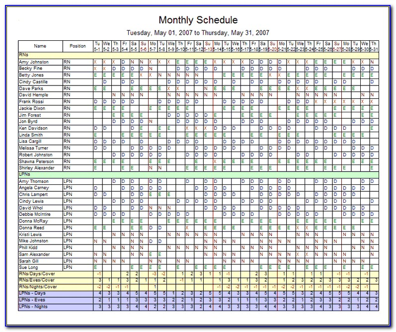 Free Monthly Employee Schedule Template Excel