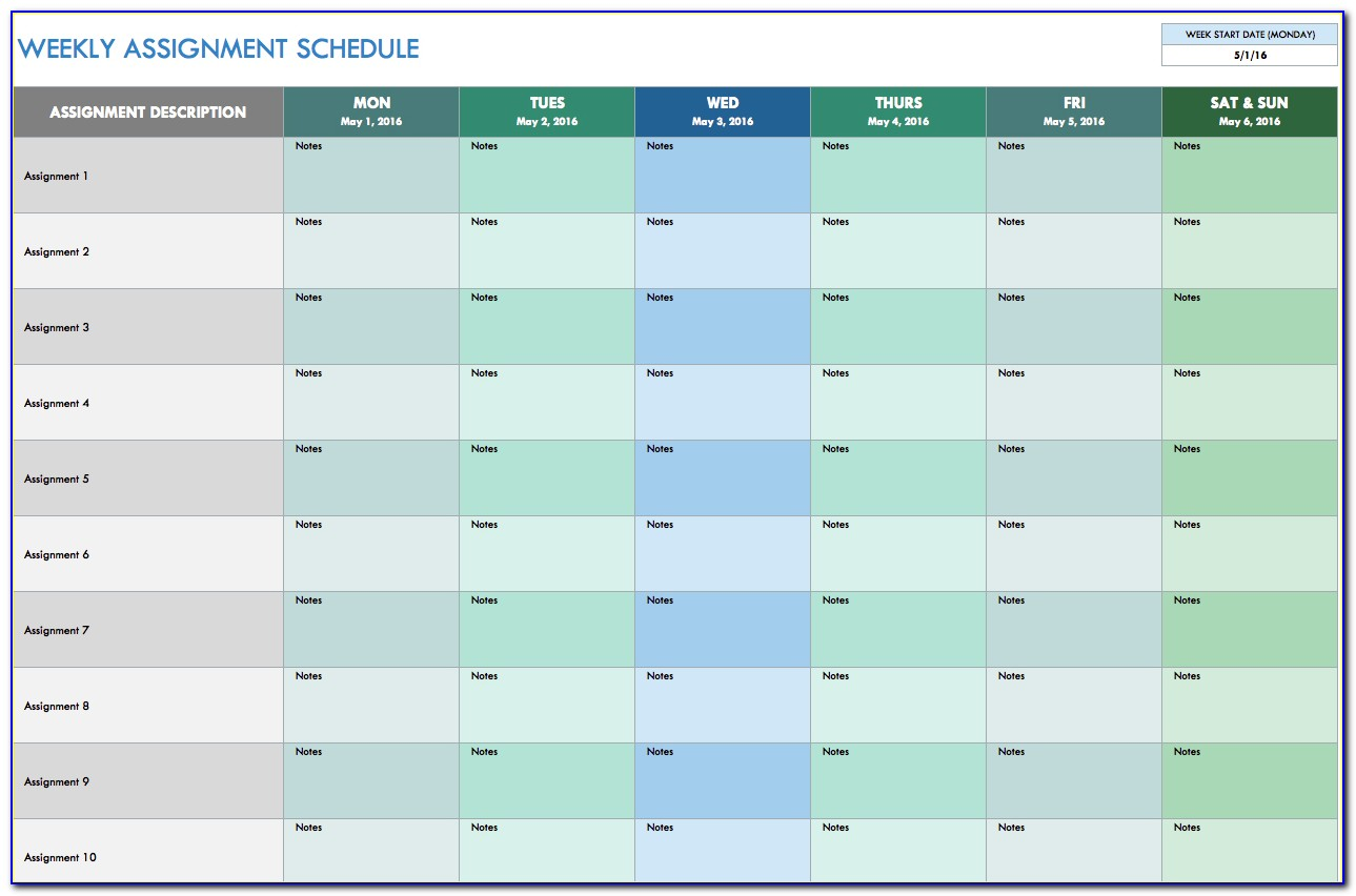 Free Monthly Schedule Template Excel
