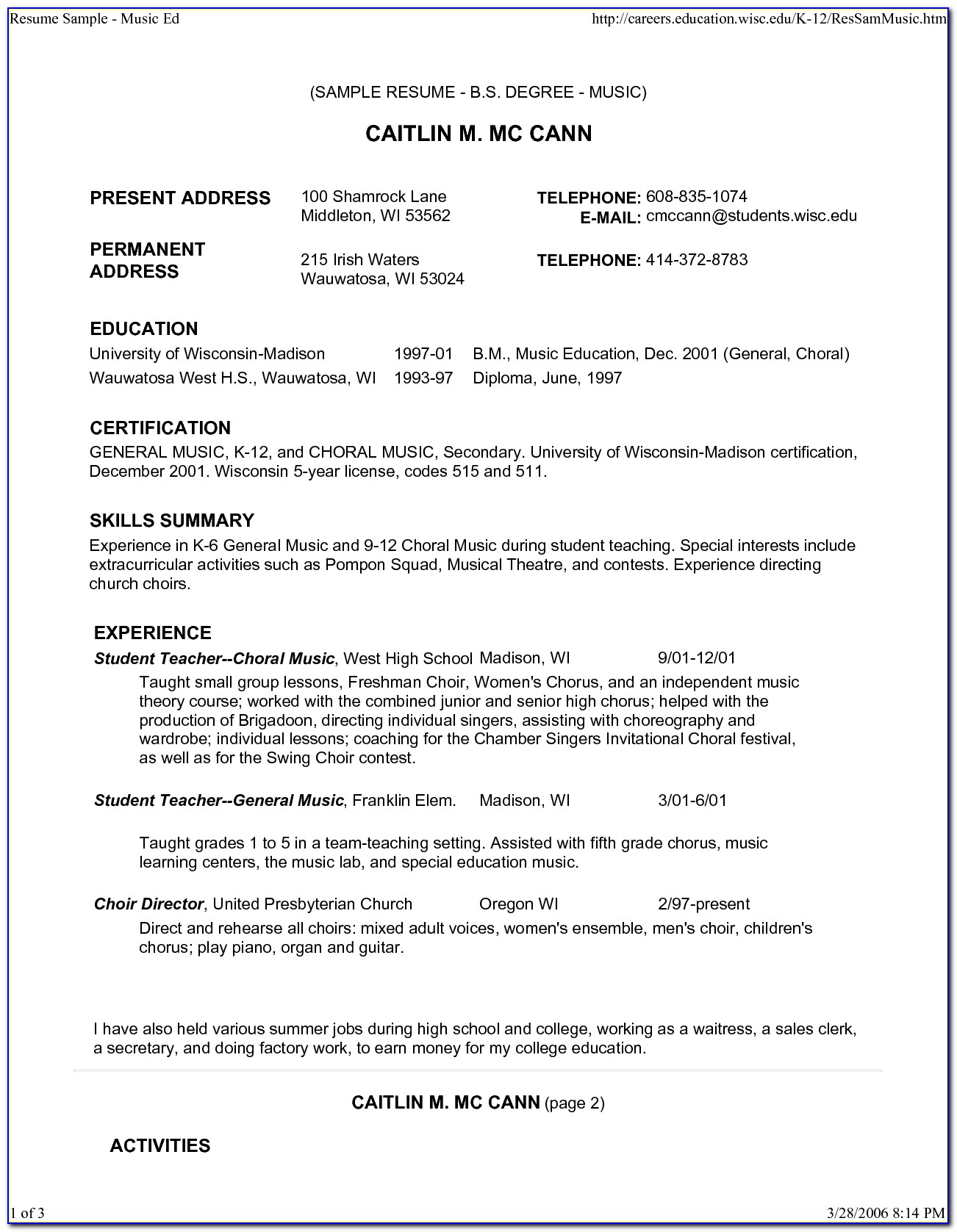 Free Music Teacher Resume Template