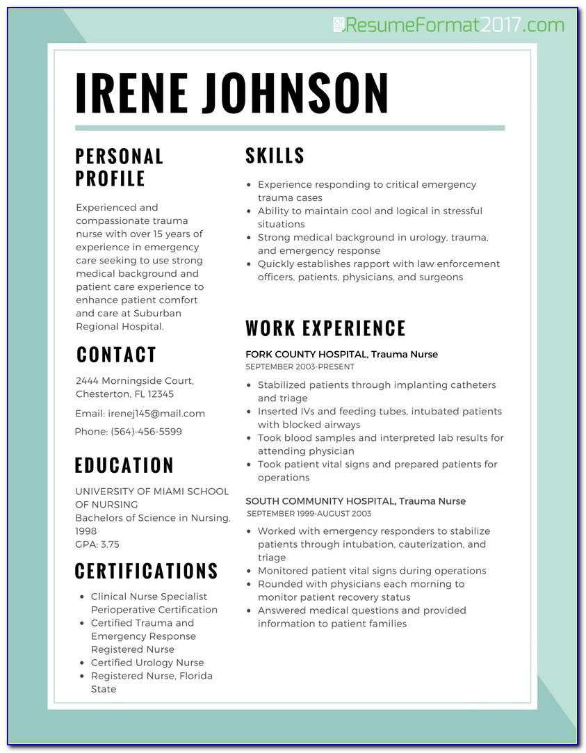 Resume Best Format For Nurses 2017 | Resume Format 2017 Regarding Nursing Resume Template 2017