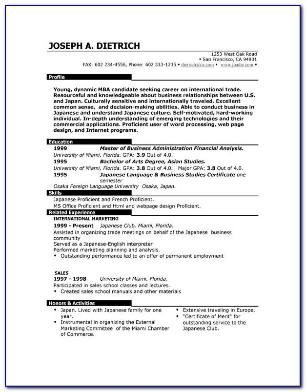 Free Online Downloadable Resume Templates