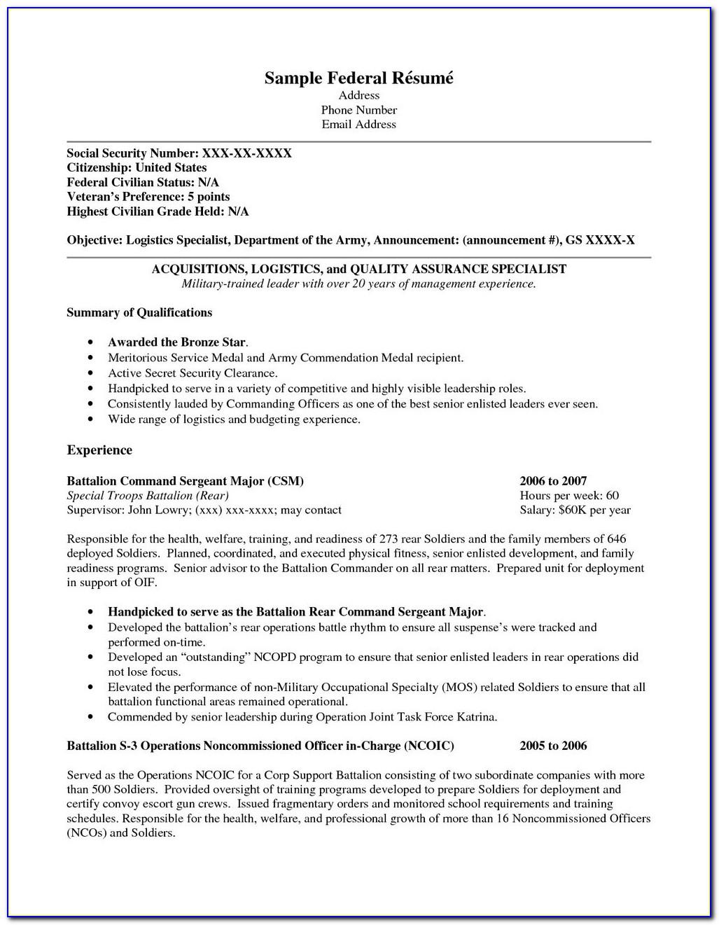 Free Resume Builder For Veterans