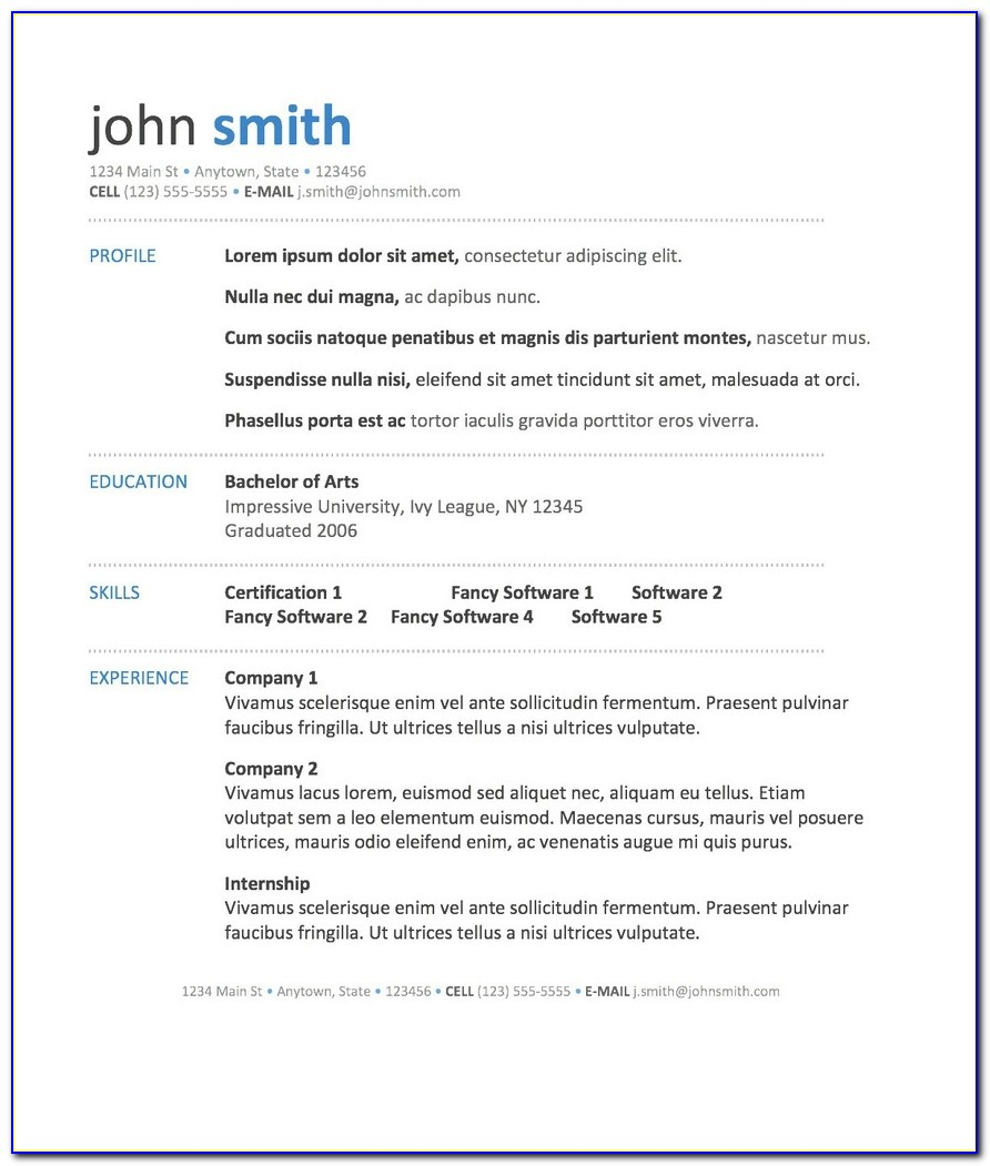 Free Online Templates For Resumes For Word