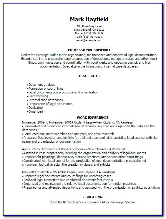 Free Paralegal Resume Templates