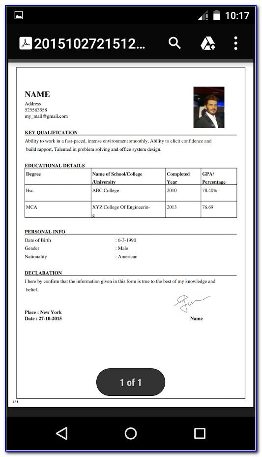 Free Pdf Resume Maker