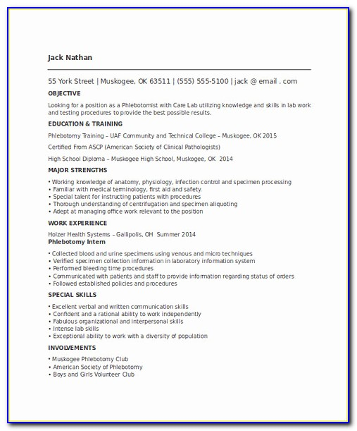 For Phlebotomy Resume Templates