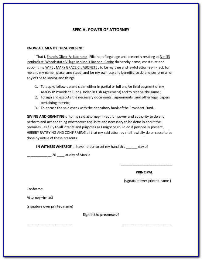 Free Power Of Attorney Template California