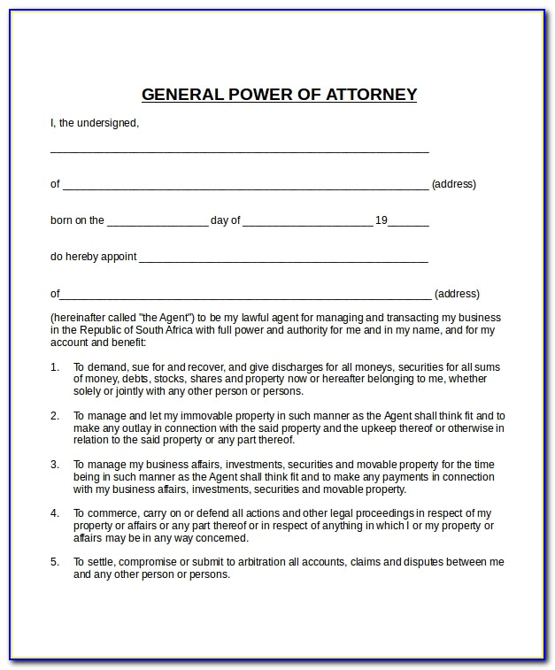 Free Power Of Attorney Template Texas