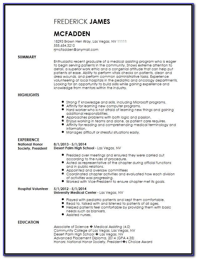 Free Printable Medical Assistant Resume