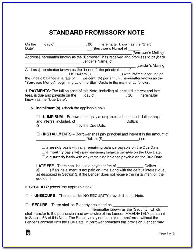 Free Promissory Note Template Washington State