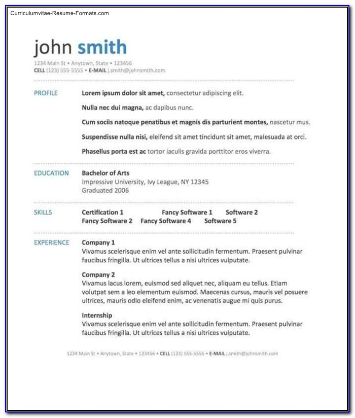 Free Resume Templates Download For Mac