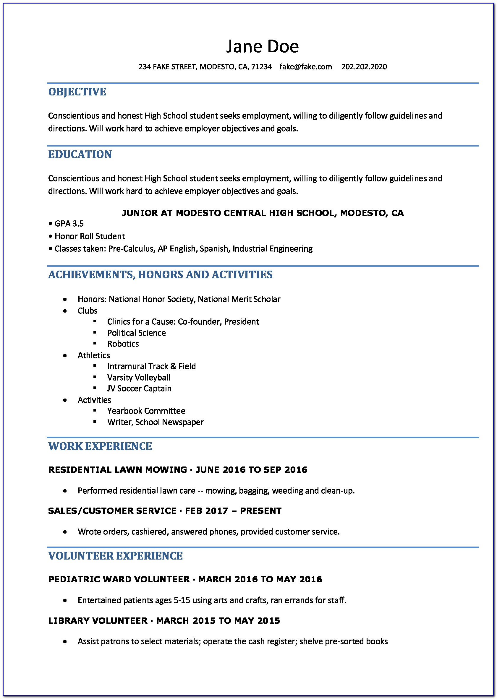 Free Resume Builder For Highschool Students
