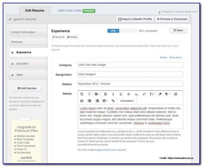 Free Resume Builder Software