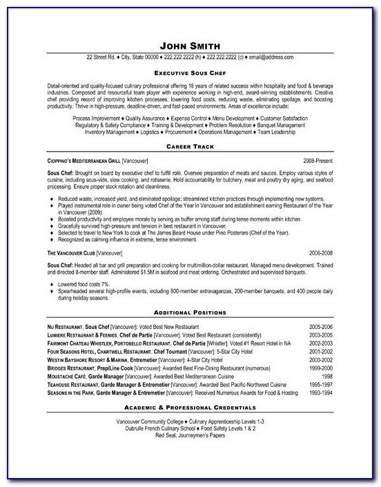 Free Resume Template For Chef