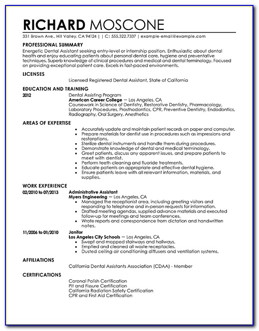 Free Resume Template For Dental Assistant