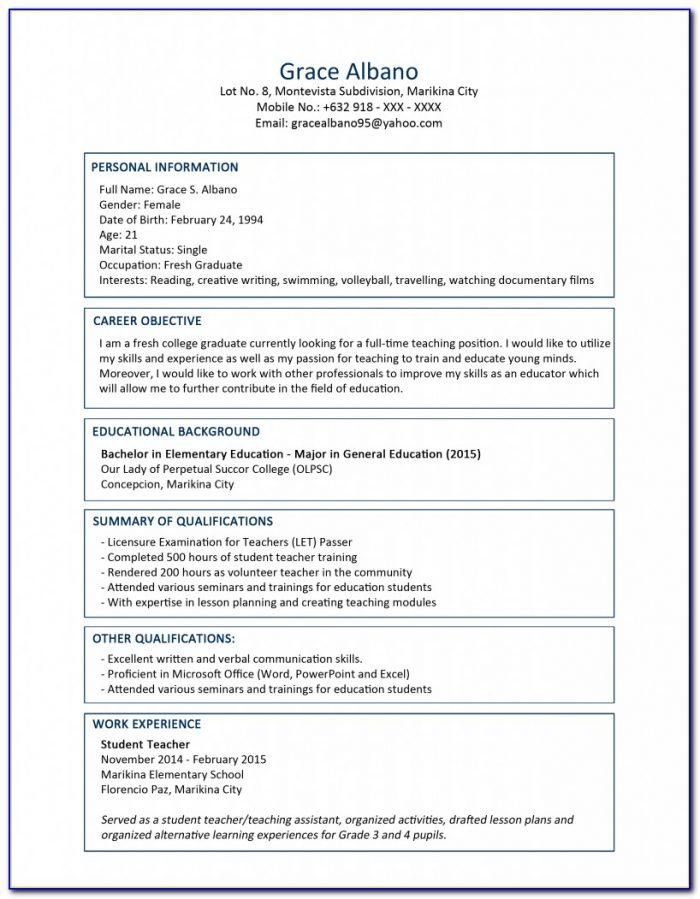 Free Resume Template For Ms Word