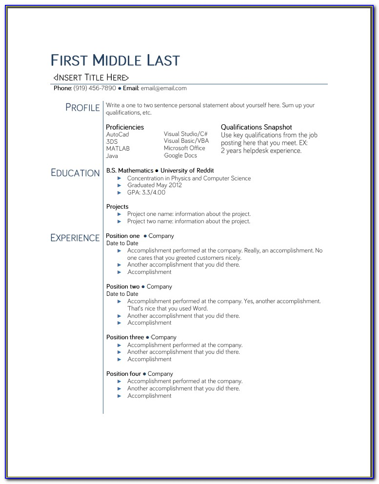 Free Resume Template Google Docs Download
