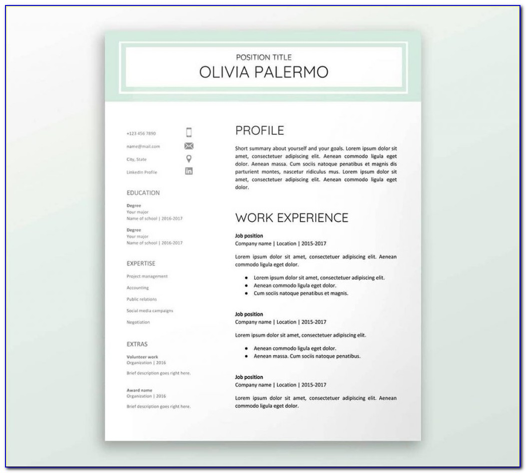 Free Resume Template Google Docs