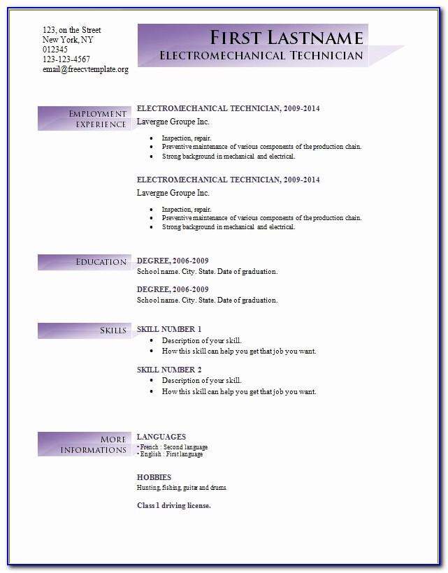 Of Free Basic Resume Templates Microsoft Word